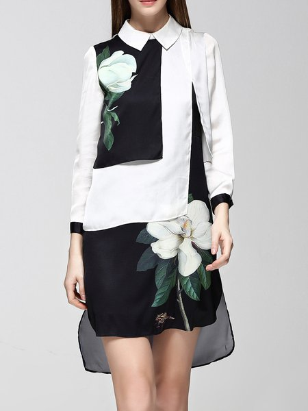 3/4 Sleeve Elegant  Floral Midi Dress