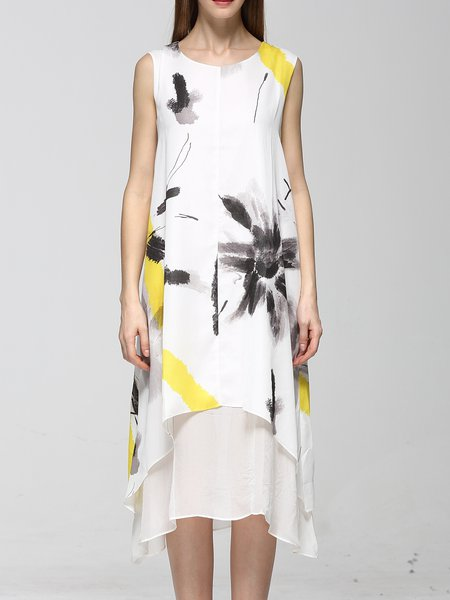 White Casual Printed Abstract Crew Neck Midi Dress