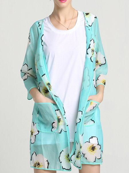 Printed Casual 3/4 Sleeve Floral Coat