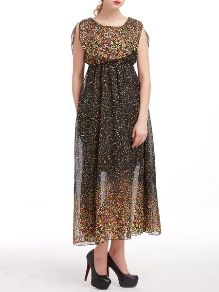 Multicolor Chiffon Casual Floral Printed Maxi Dress