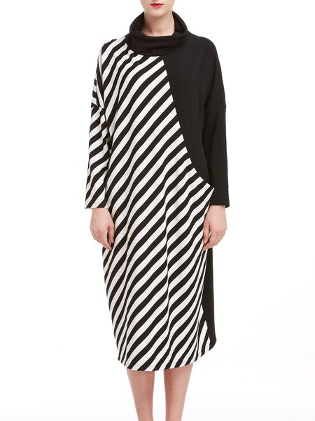 Polyester Long Sleeve Color-block Statement Midi Dress