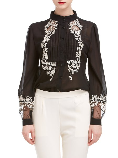 Long Sleeve Chiffon Buttoned Ruched Floral Blouse