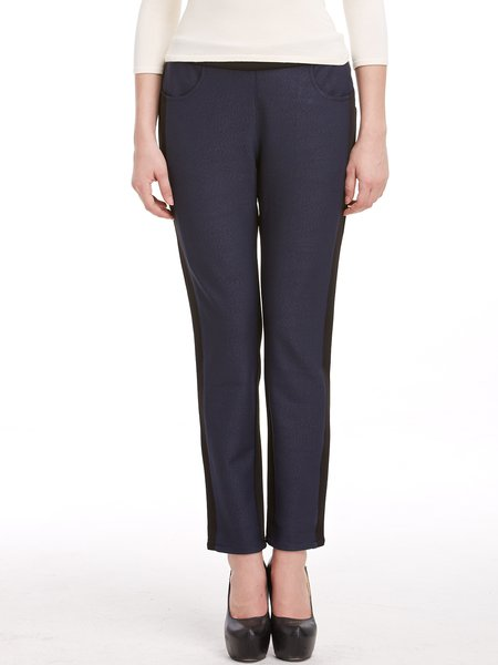 Navy Blue Color-block Casual Straight Leg Pants