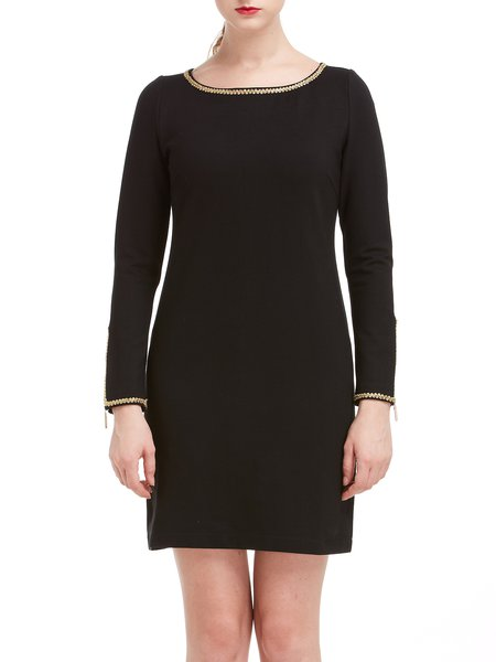 Black A-line Zipper Long Sleeve Plain Mini Dress