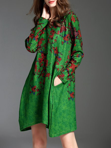 Long Sleeve Cowl Neck Shift Floral-print Vintage Midi Dress