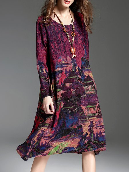 Burgundy Printed Vintage H-line Midi Dress