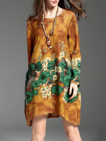 H-line Floral Print Casual Vintage Mini Dress