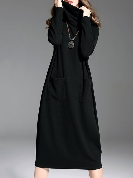 Black Turtleneck Casual Pockets Plain Midi Dress