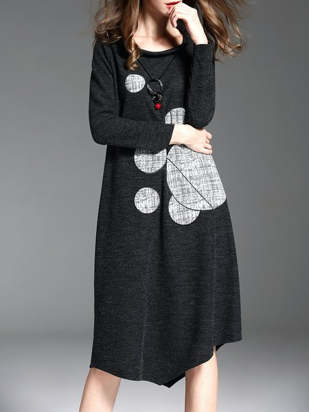 H-line Asymmetric Crew Neck Casual Long Sleeve Midi Dress