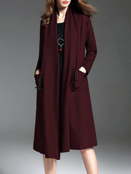 H-line Plain Casual Pockets Long Sleeve Coat