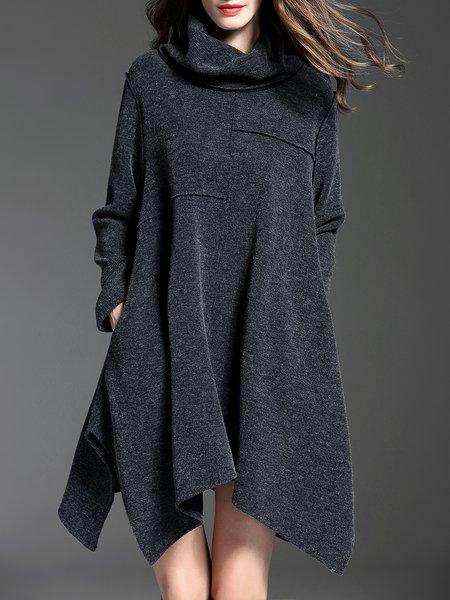Gray Plain Long Sleeve Mini Dress