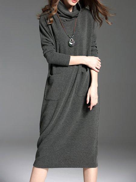 Casual Cotton Pockets Long Sleeve Midi Dress