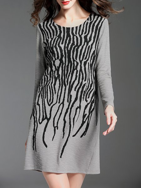 Abstract Print Long Sleeve Casual Mini Dress
