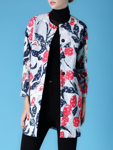 Long Sleeve Casual H-line Printed Coat