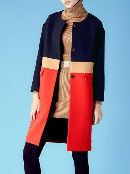 Yellow Color-block Long Sleeve Coat
