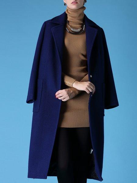 Plain Pockets Lapel Long Sleeve  Simple Coat