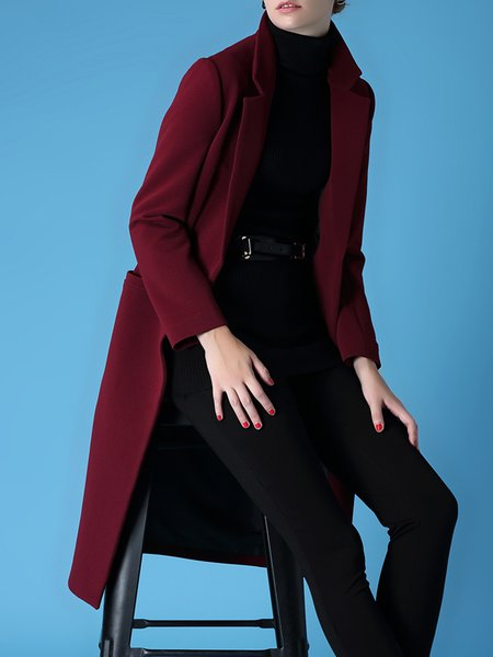 Simple Pockets Long Sleeve Lapel Plain Coat