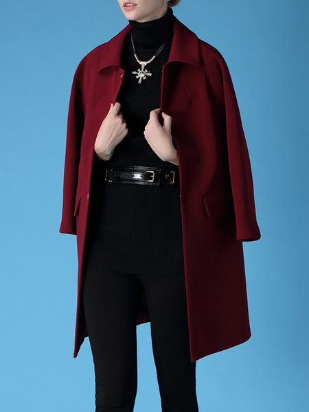 Burgundy Simple H-line Plain Coat