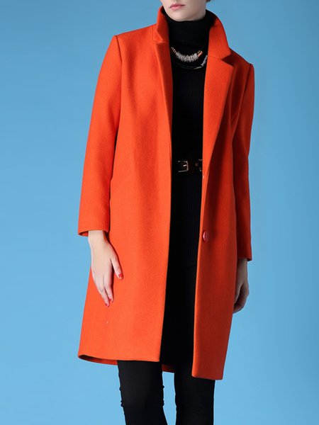 Pockets Plain Lapel Long Sleeve H-line Simple Coat