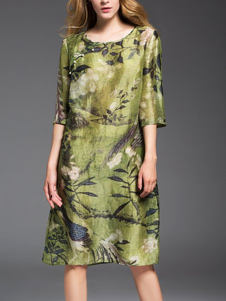 Green A-line Graphic Printed Simple Midi Dress