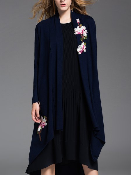 Deep Blue Simple Asymmetric Floral Cardigan