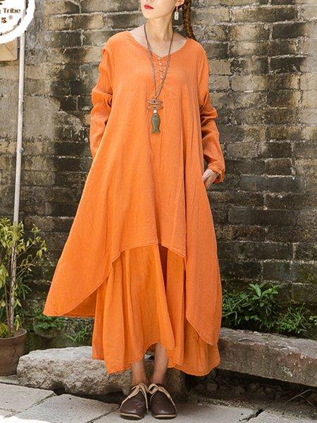 Cotton Gathered Casual V Neck Long Sleeve Linen Dress