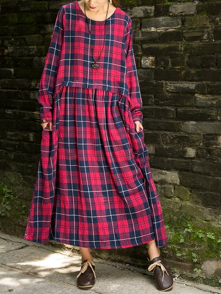 Red Checkered/Plaid Casual Long Sleeve Linen Dress
