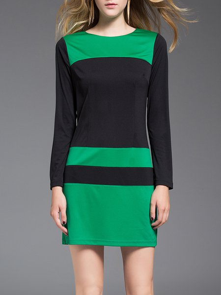 Green Color-block Elegant Polyester Mini Dress