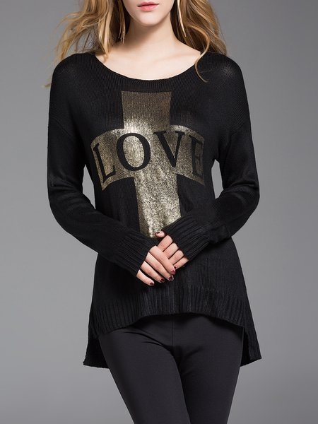 Black Letter High Low Long Sleeve Sweater