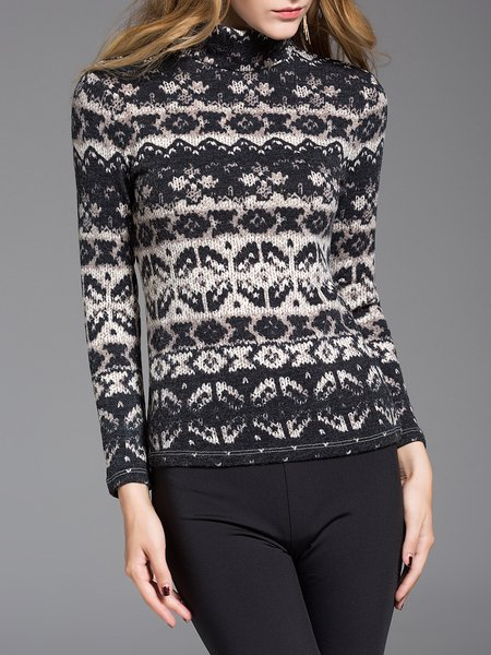 Knitted Casual Turtleneck Tribal Long Sleeve Sweater