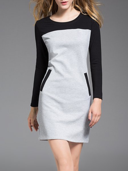 Color-block Casual Long Sleeve Mini Dress