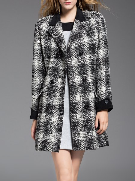 Gray Casual Checkered/Plaid Lapel Coat with Pockets