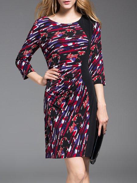 Red Paneled 3/4 Sleeve Sheath Mini Dress