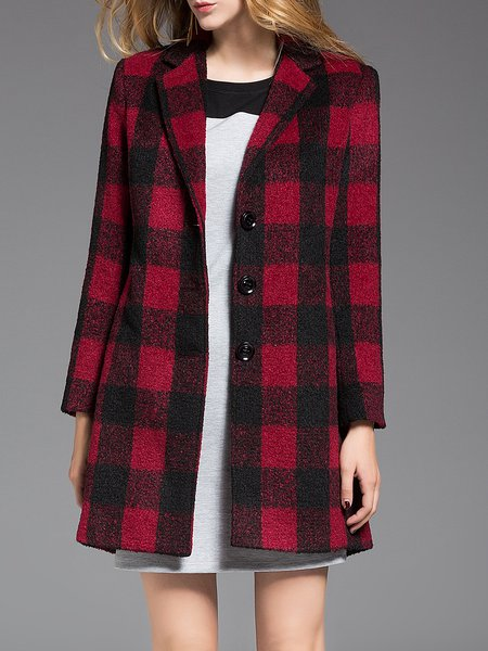 Casual Pockets Checkered/Plaid Long Sleeve Coat
