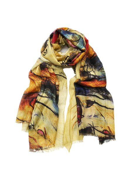 Yellow Printed Casual Scarf