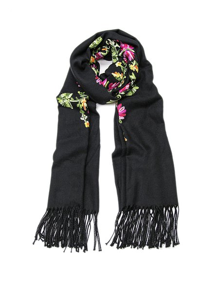 Floral Embroidered Casual Scarf