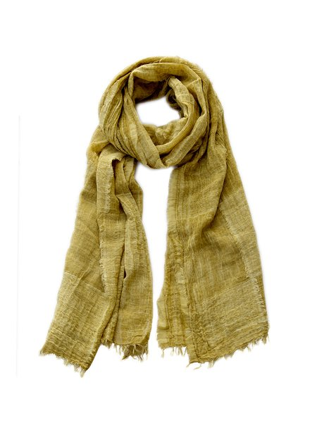 Yellow Plain Casual Cotton-blend Scarf
