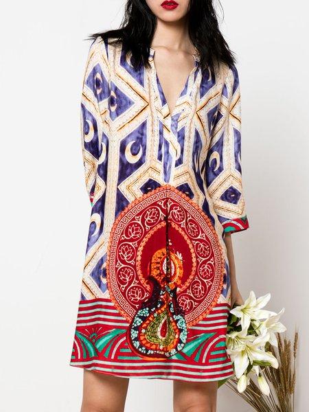 Multicolor V Neck H-line 3/4 Sleeve Printed Midi Dress