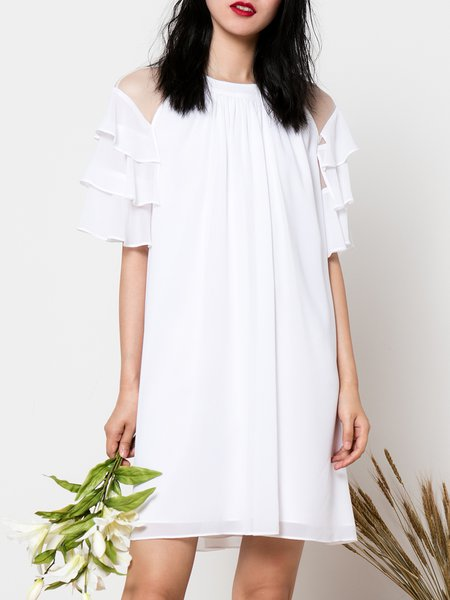 White Frill Sleeve Cold Shoulder Mini Dress