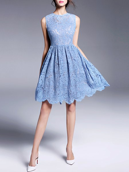 Blue Lace A-line Mesh Sleeveless Midi Dress