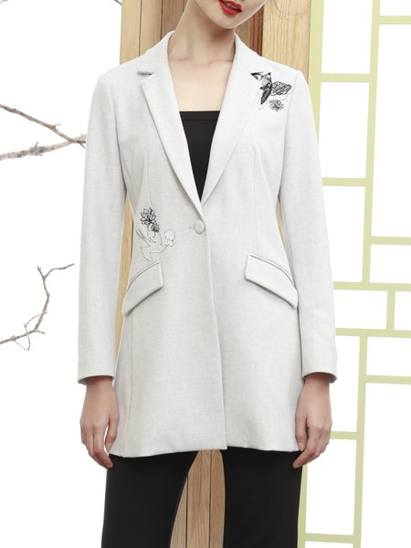 Lapel Long Sleeve Casual Embroidered H-line Coat