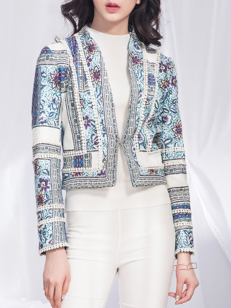 Long Sleeve H-line Printed Vintage Cropped Jacket