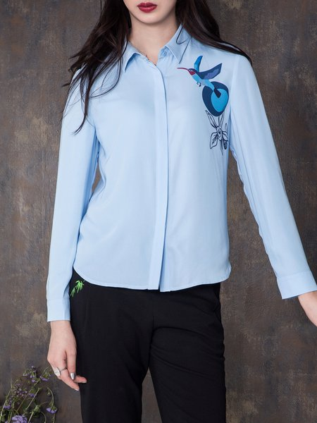 Printed Graphic Simple Shirt Collar Blouse