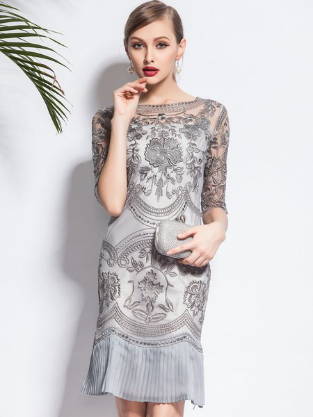 Gray Floral Half Sleeve Pleated Two Piece Midi Dress