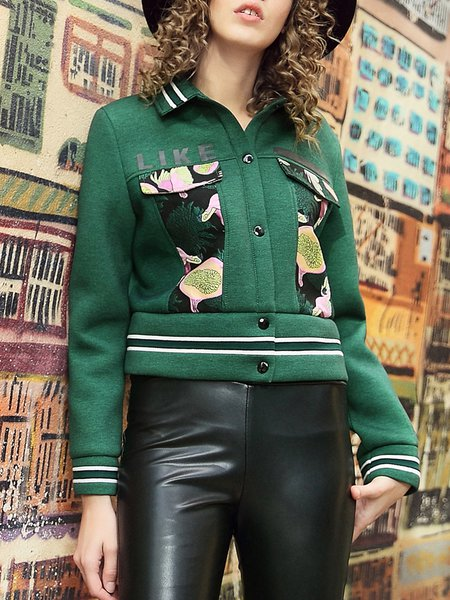 Green Long Sleeve Shirt Collar Graphic Bomber Jacket