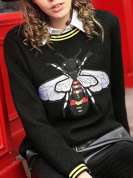 Statement Bee Embroidered Long Sleeve Crew Neck Sweatshirt