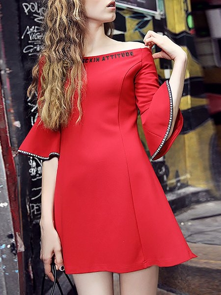 Nylon Off Shoulder Girly Ruffled Frill Sleeve Mini Dress