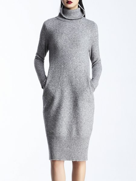 Gray Simple Plain Turtleneck Knitted Sweater Dress