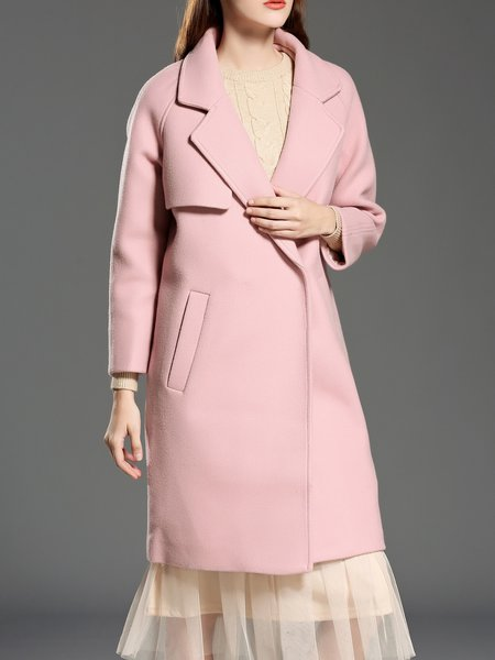 Pink Solid Long Sleeve Lapel Elegant Coat