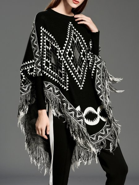 Fringed Printed Geometric Crew Neck Batwing Cape Sweater